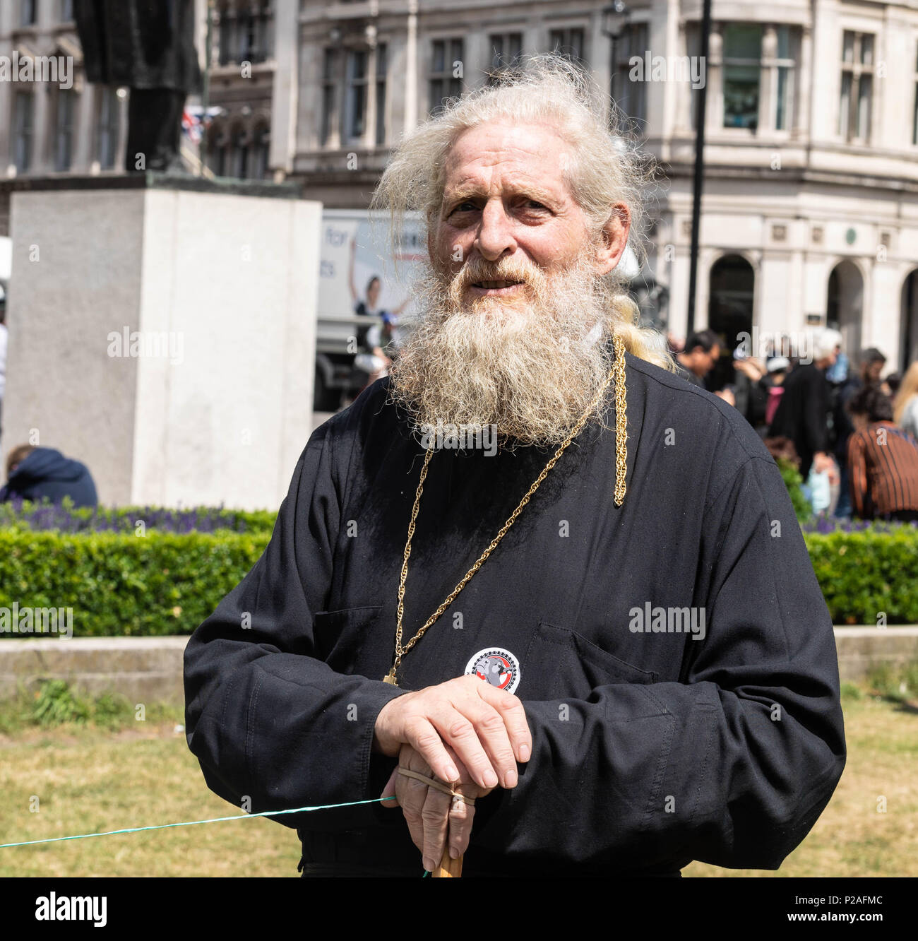 London 14th June 2018, End live animal transport protest on Parliament Square, London Dr Christina Nellist, Eastern Orthodox Theologian, at the protest  Credit Ian Davidson/Alamy Live News Stock Photo