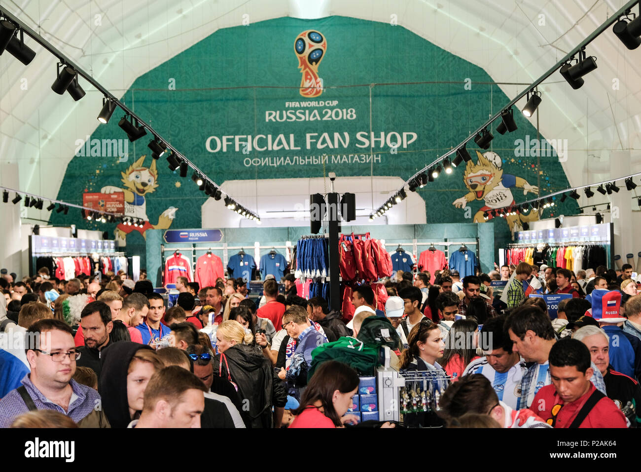 Moscow, Russia. 13th Jun 2018. First match of FIFA 2018 World Football championship. Official Fan Shop Credit: Marco Ciccolella/Alamy Live News - Stock Image