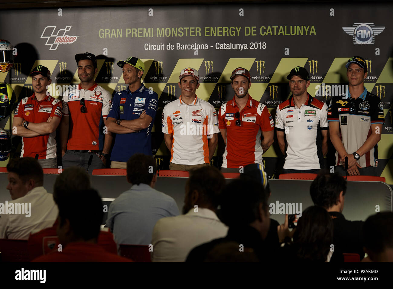 (L-R) Jorge Lorenzo, Danilo Petrucci, Valentino Rossi, Marc Marquez, Andrea Dovizioso, Cal Crutchlow, Joan Mir during the press conference before of the Gran Premi Monster Energy de Catalunya, Circuit of Catalunya, Montmelo, Spain.On 14 june of 2018. - Stock Image