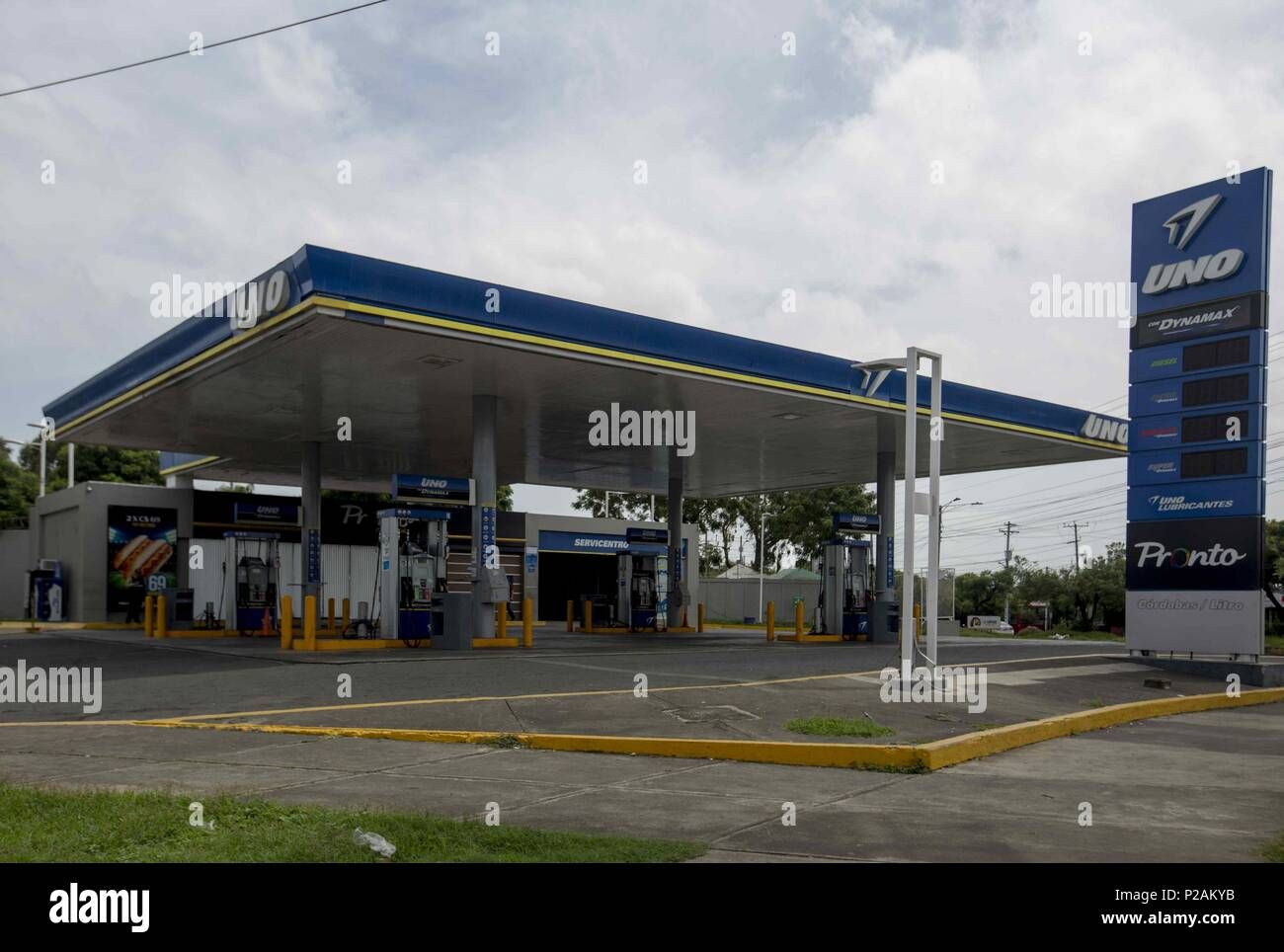 Managua, Nicaragua  14th June, 2018  View of a gas station