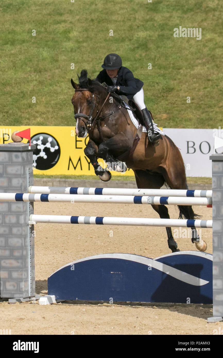 Bolesworth, Cheshire. 14th Jun, 2018. Jonna Ekberg from Sweden riding Universal ilu Vinnebus. Horse, fence, equestrian, animal, sport, competition, jump, equine, rider, show, obstacle, hurdle, horseback, event, stallion, champion, jumping, jockey, riding, equitation, horseman at the Equerry Bolesworth International Horse Show. Credit MediaWorldImages/AlamyLiveNews. - Stock Image