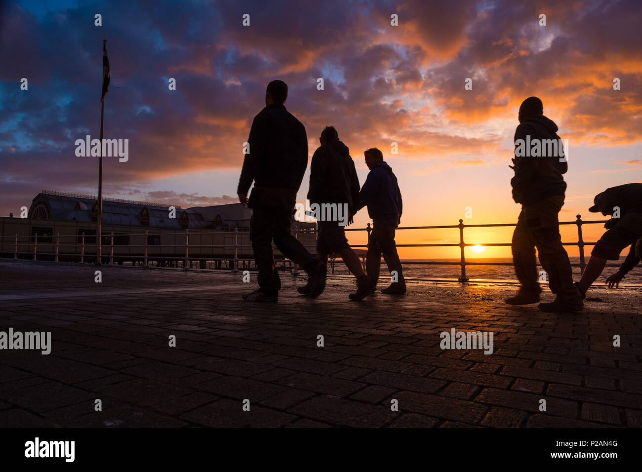 Aberystwyth, UK. 14th June 2018.   UK Weather: After Storm Hector has blown out, the day ends with a glorious summer evening and sunset in Aberystwyth on the west Wales coast  photo credit Keith Morris / Alamy Live News Stock Photo