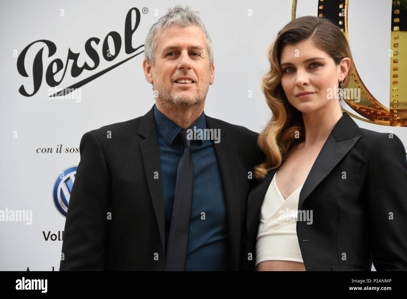 Rome Italy 13 June 2018 - Villa Medici - 2018 golden globe award 58th edition FabrizioLucci best photography 'the place' and with the girlfriend Vittoria Puccini Credit: Giuseppe Andidero/Alamy Live News - Stock Image