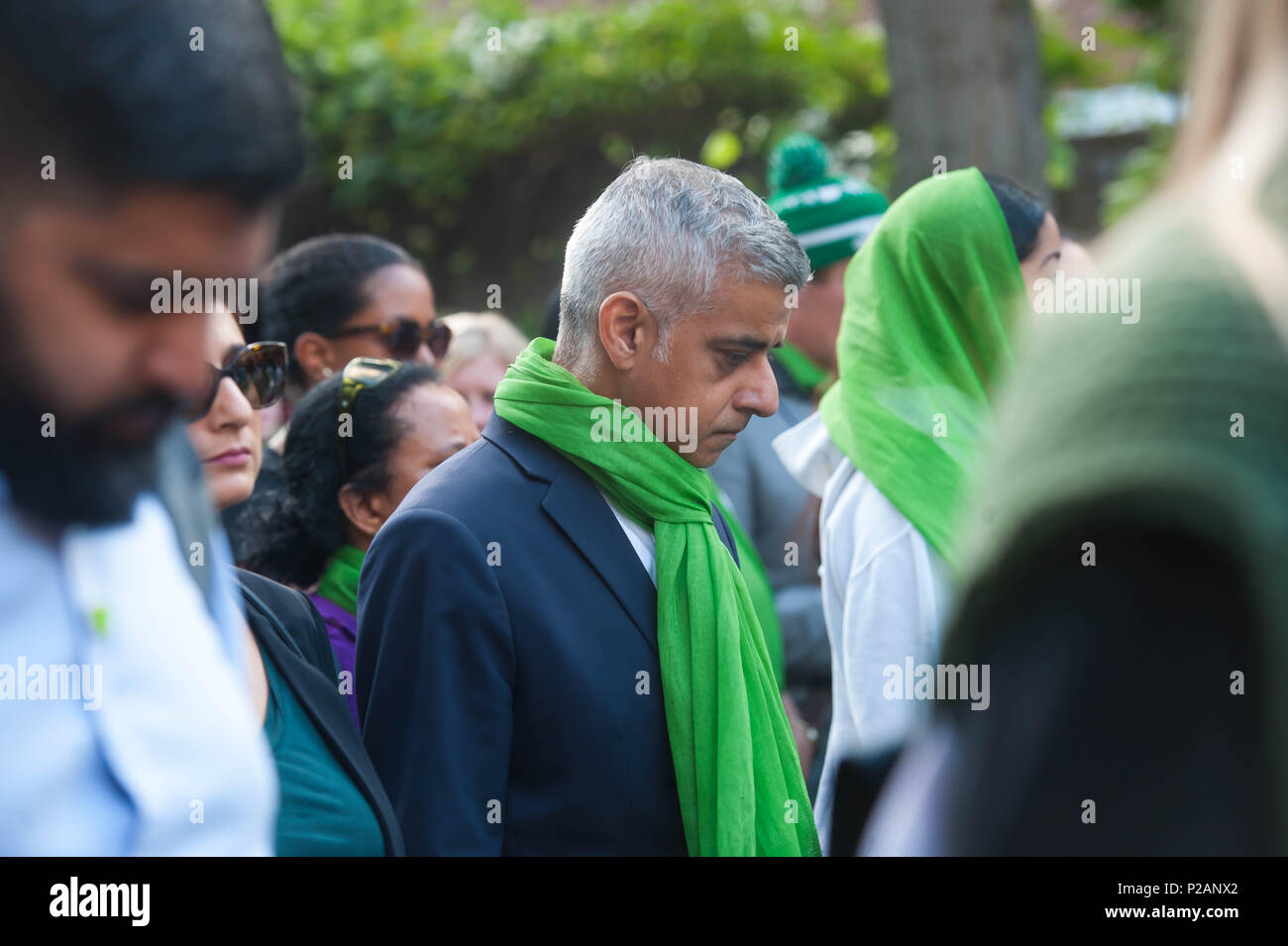 London, England. 14th June 2018. Mayor of London, Sadiq Khan during the Silent walk is held to mark the first anniversary of the Grenfell Tower fire, which claimed the lives of 72 people. ©Michael Tubi/Alamy Live News - Stock Image