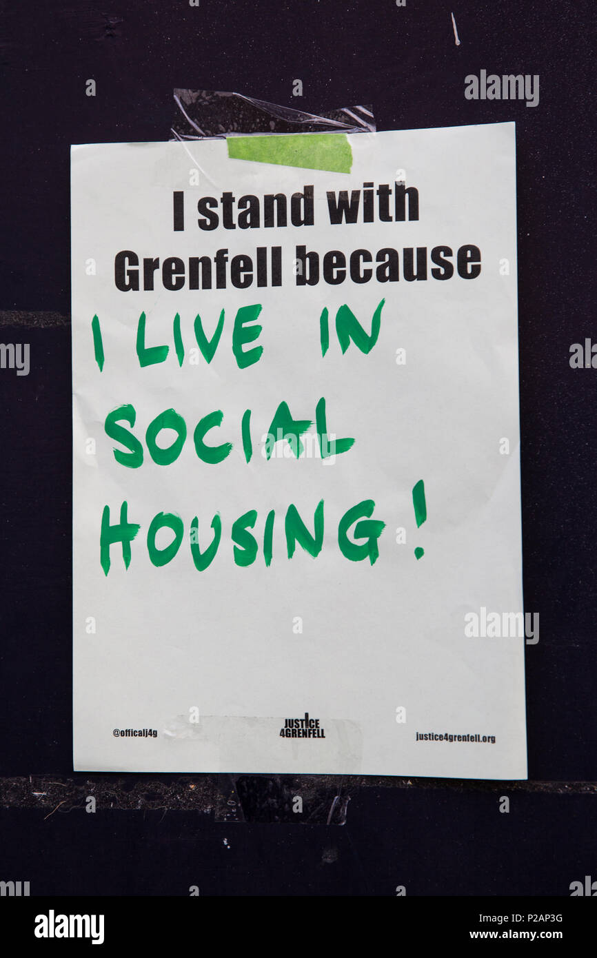London, UK. 14th June, 2018. A poster on the route of the Grenfell Silent March through West Kensington on the first anniversary of the Grenfell Tower fire. 72 people died in the Grenfell Tower fire and over 70 were injured. Credit: Mark Kerrison/Alamy Live News - Stock Image