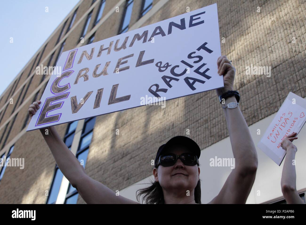 Philadelphia, PA, USA - June 14, 2018: A demonstrator protests ICE and the Trump Administration policy of separating migrant families at the U.S - Mexico border. Credit: Jana Shea/ Alamy Live News - Stock Image