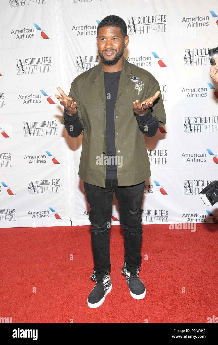 New York, NY, USA. 14th June, 2018. Usher attends the Songwriters Hall of Fame 49th Annual Induction and Awards Dinner at New York Marriott Marquis Hotel on ...