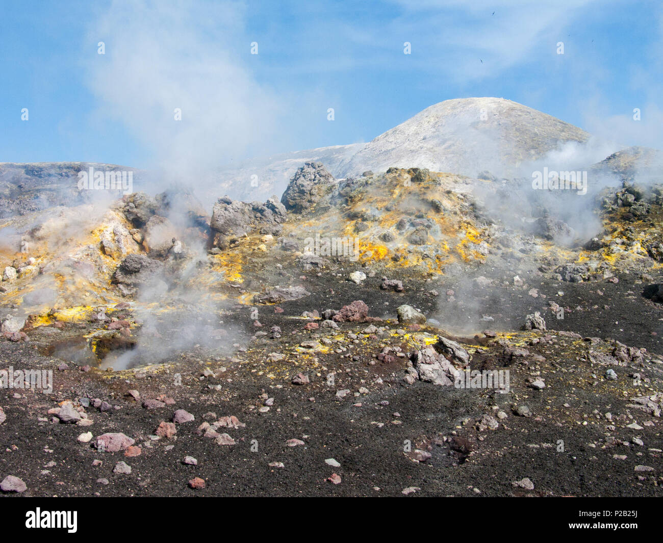 Craters of Etna, Colorful volcanic fields in mount Etna - Stock Image