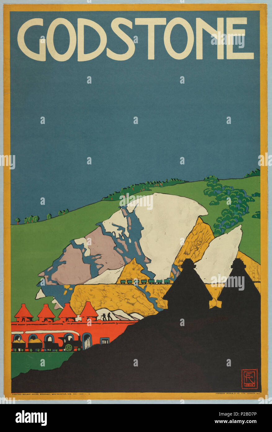 .  English: Poster, Godstone, London Underground, 1915 .  English: View of quarry with mountain in background, wagons, workers. Silhouetted building in foreground. . 1915 232 Poster, Godstone, London Underground, 1915 (CH 18447275-2) - Stock Image
