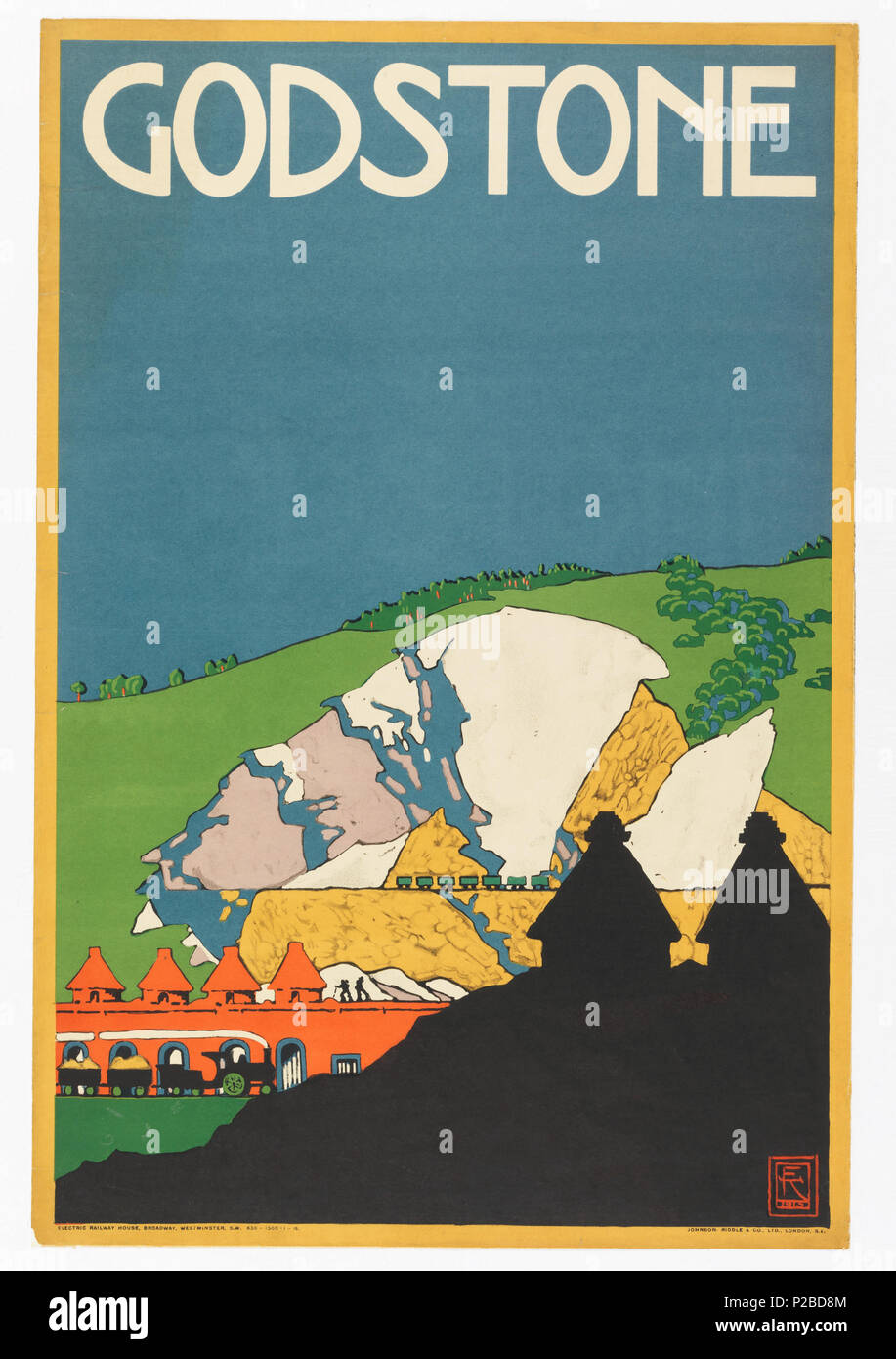 .  English: Poster, Godstone, London Underground, 1915 .  English: View of quarry with mountain in background, wagons, workers. Silhouetted building in foreground. . 1915 232 Poster, Godstone, London Underground, 1915 (CH 18447275) - Stock Image