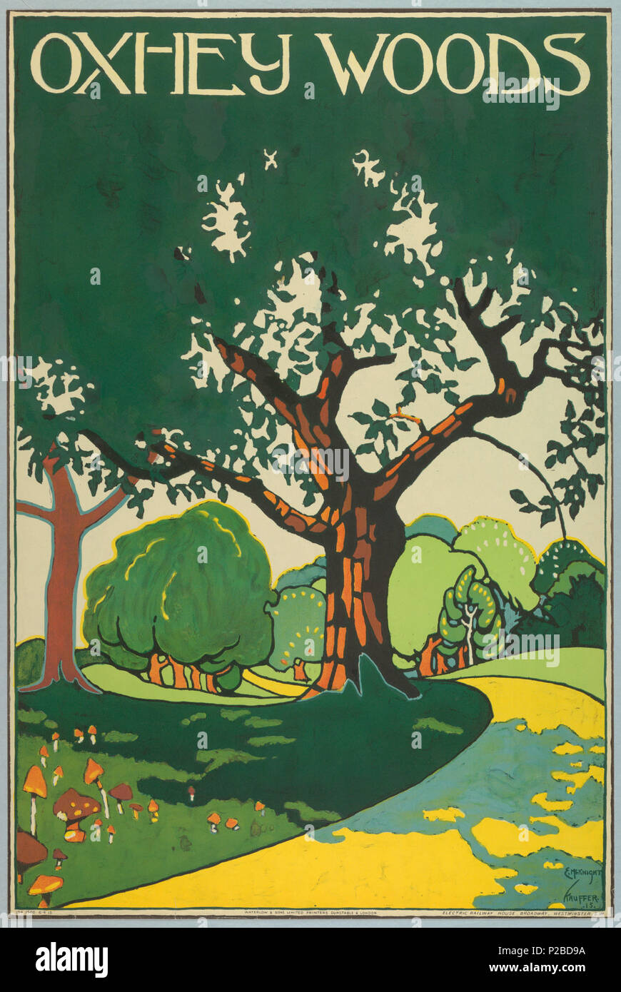 .  English: Poster, Oxhey Woods, London Underground, 1915 .  English: Landscape view with rolling hills and path leading through. In white, above: OXHEY WOODS. . 1915 232 Poster, Oxhey Woods, London Underground, 1915 (CH 18447253-2) - Stock Image