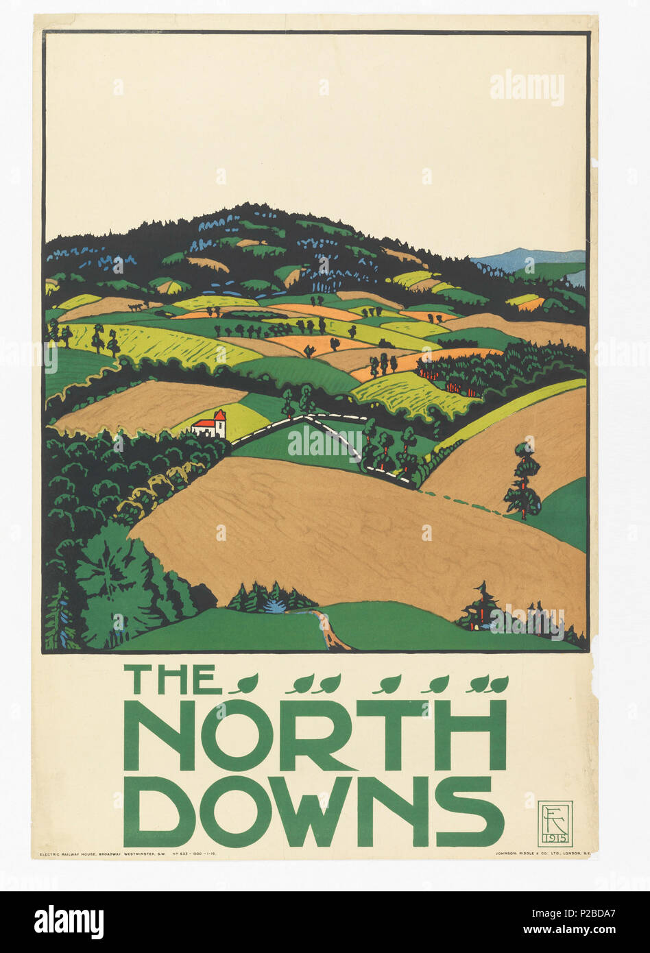 .  English: Poster, The North Downs, London Underground, 1915 .  English: A hilly landscape with fields in greens and browns. Lower margin, in green: THE / NORTH / DOWNS; with a line of small leaves. . 1915 232 Poster, The North Downs, London Underground, 1915 (CH 18447297) - Stock Image
