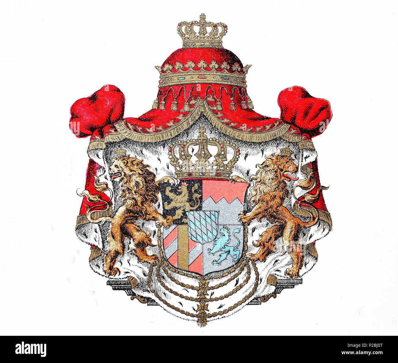 Coat of arms of the kingdom of bavaria, germany, Wappen des Königreich Bayern, Deutschland, digital improved reproduction from an original print from the 19th century, 1881 - Stock Image