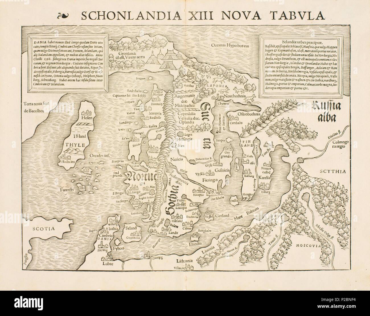 kart nordområdene Latina: Schonlandia XIII Nova Tabula Norsk bokmål: Kart fra  kart nordområdene
