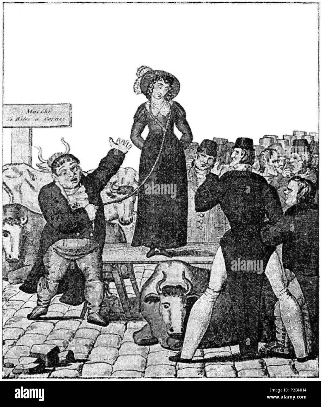 . English: A satirical engraving of the quaint English custom of 'wife-selling', which wasn't quite what it sounds like, but was more a ritual among the lower classes — who couldn't possibly obtain an official full parliamentary divorce, allowing remarriage, given the laws of England as they existed before 1857 — to publicly proclaim a dissolution of marriage (though not one that was really recognized by the authorities of Church and State). This is an 1820 English caricature (even though the sign says 'Marché de Bêtes à Cornes'). Notice how the artist has arranged things so that the cattle's  - Stock Image