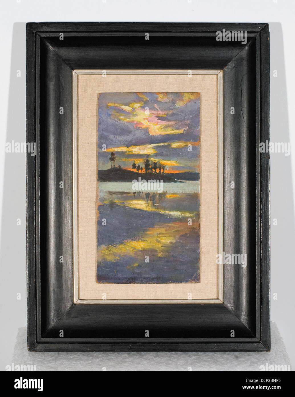 . Iltarusko visuvedellä . 1891 25 Auringonlasku Visuvedella - Stock Image