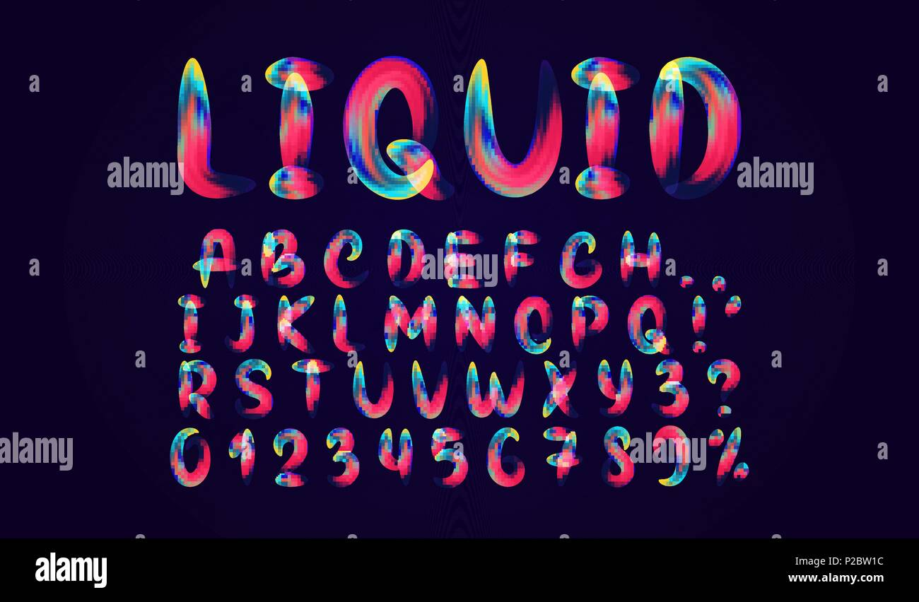 Fluid colored letter  Alphabet font of melting liquid  Design 3d