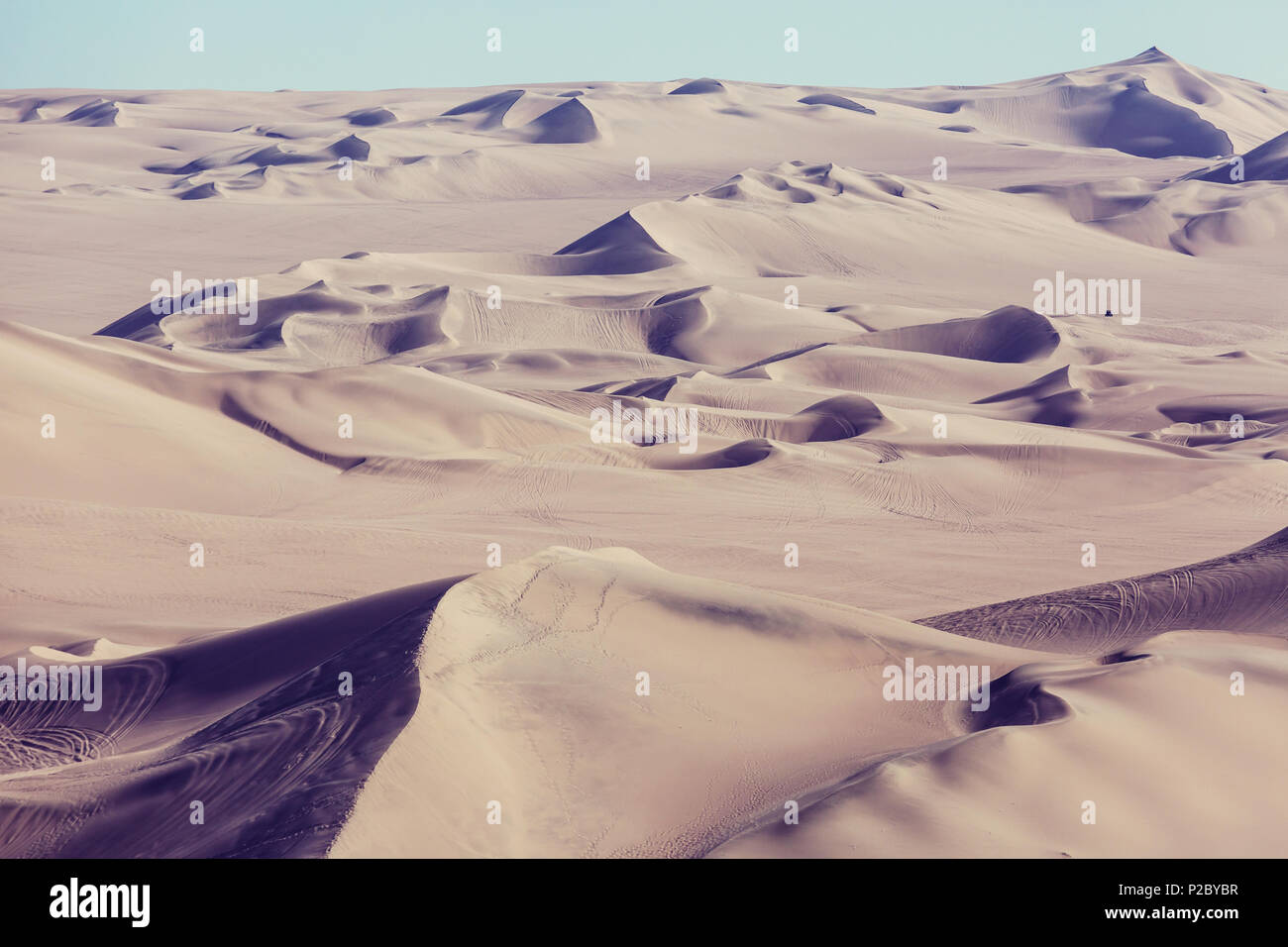 Unspoiled sand dunes in the remote desert Stock Photo