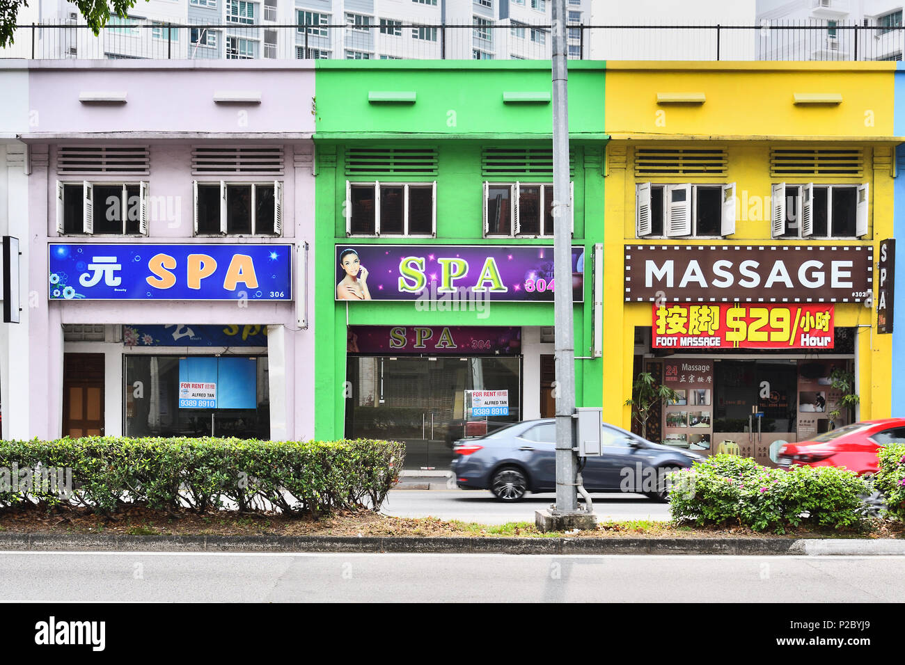 Singapore. Along the intersection of Serangoon Road and Lavender Street. A row of spas and massage palours. - Stock Image