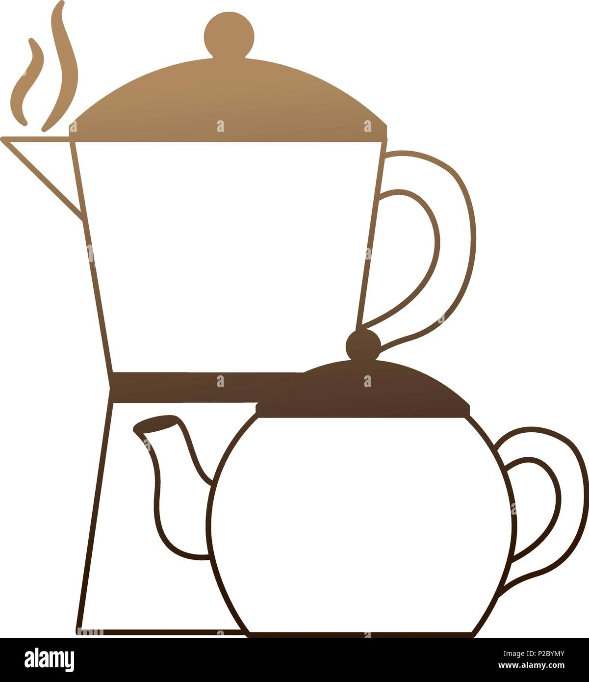 coffee teapots isolated icon - Stock Image