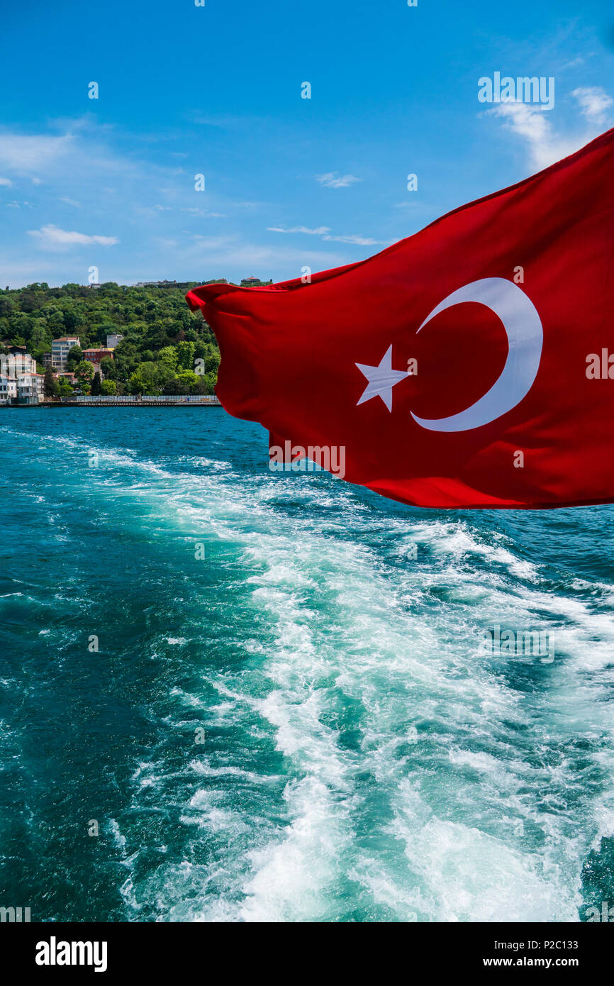 Beautiful View Of Bosphorus Coastline With Flag Of Turkey In
