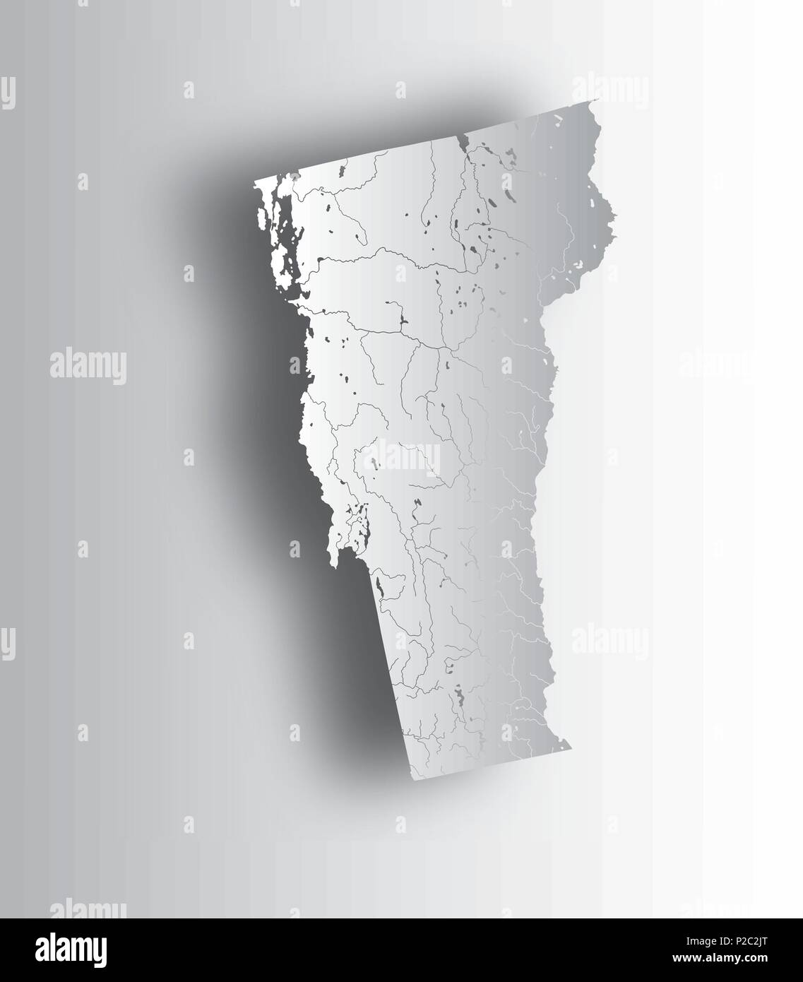 U S States Map Of Vermont With Paper Cut Effect Hand Made
