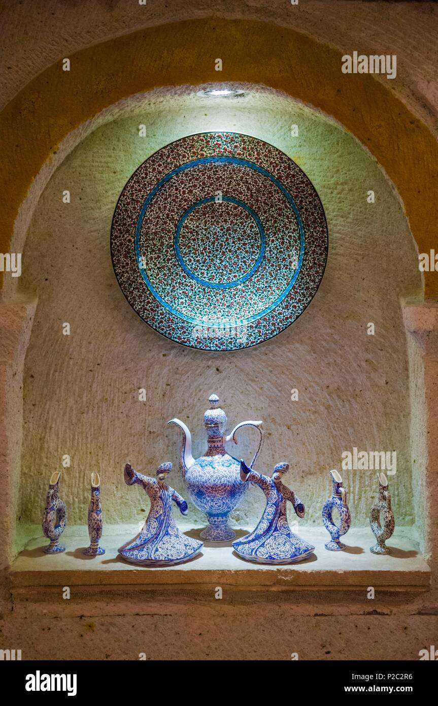 Turkey, Central Anatolia, Nevşehir province, Cappadocia UNESCO World Heritage Site, Avanos, traditional hand-painted pottery, some of which represent whirling dervishes, Galip KÖRÜKÇÜ's workshop - Stock Image