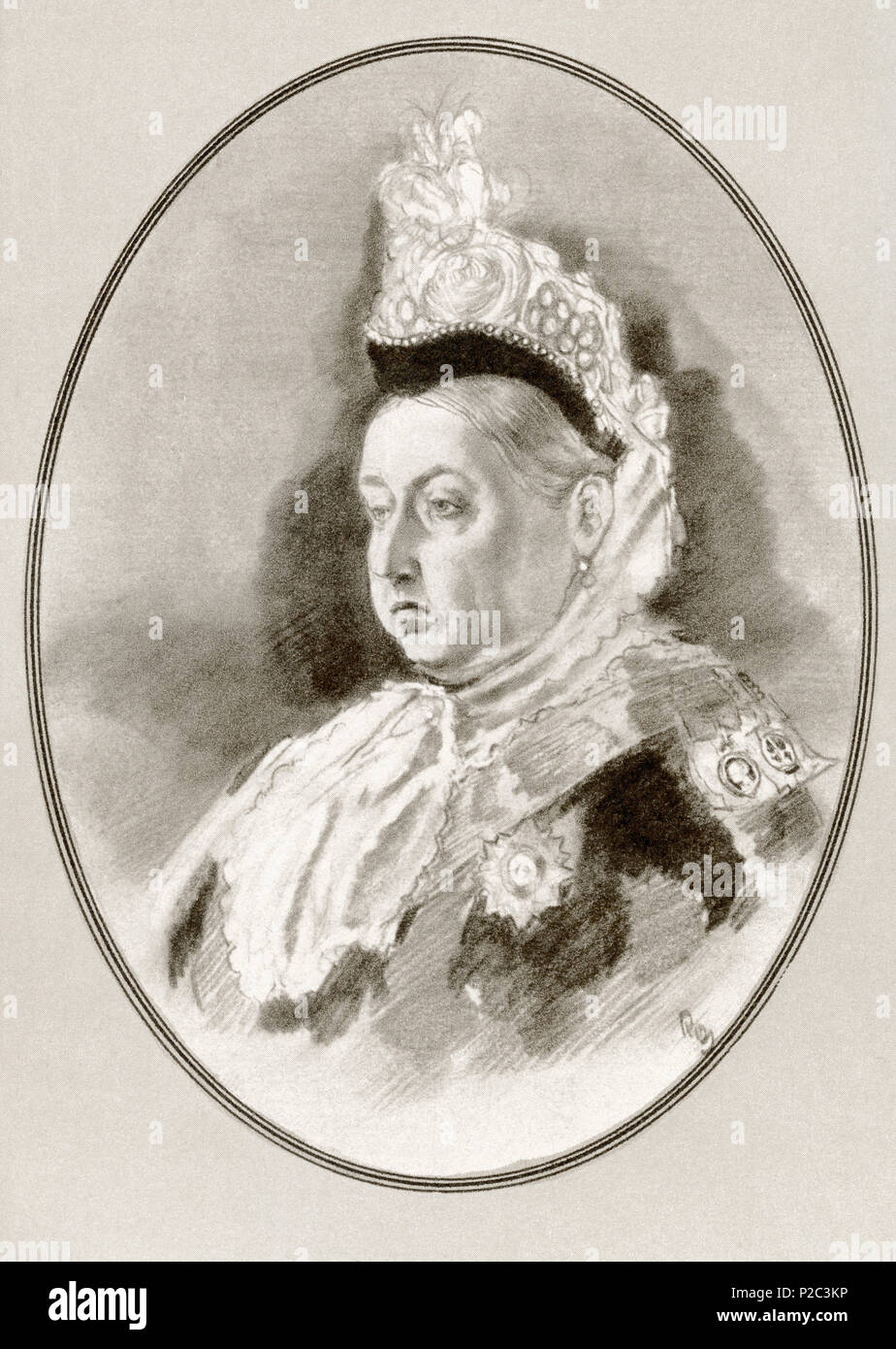 Victoria, 1819 – 1901.  Queen of the United Kingdom of Great Britain and Ireland and Empress of India.  Illustration by Gordon Ross, American artist and illustrator (1873-1946), from Living Biographies of Famous Rulers. - Stock Image