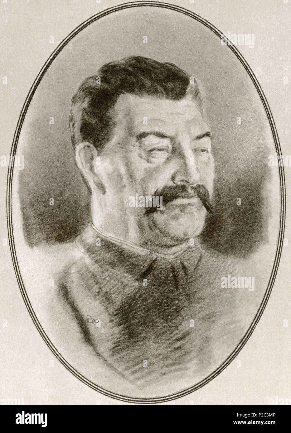 EDITORIAL  Joseph Vissarionovich Stalin, 1878 – 1953.  Soviet revolutionary and politician.  Illustration by Gordon Ross, American artist and illustrator (1873-1946), from Living Biographies of Famous Rulers. - Stock Image
