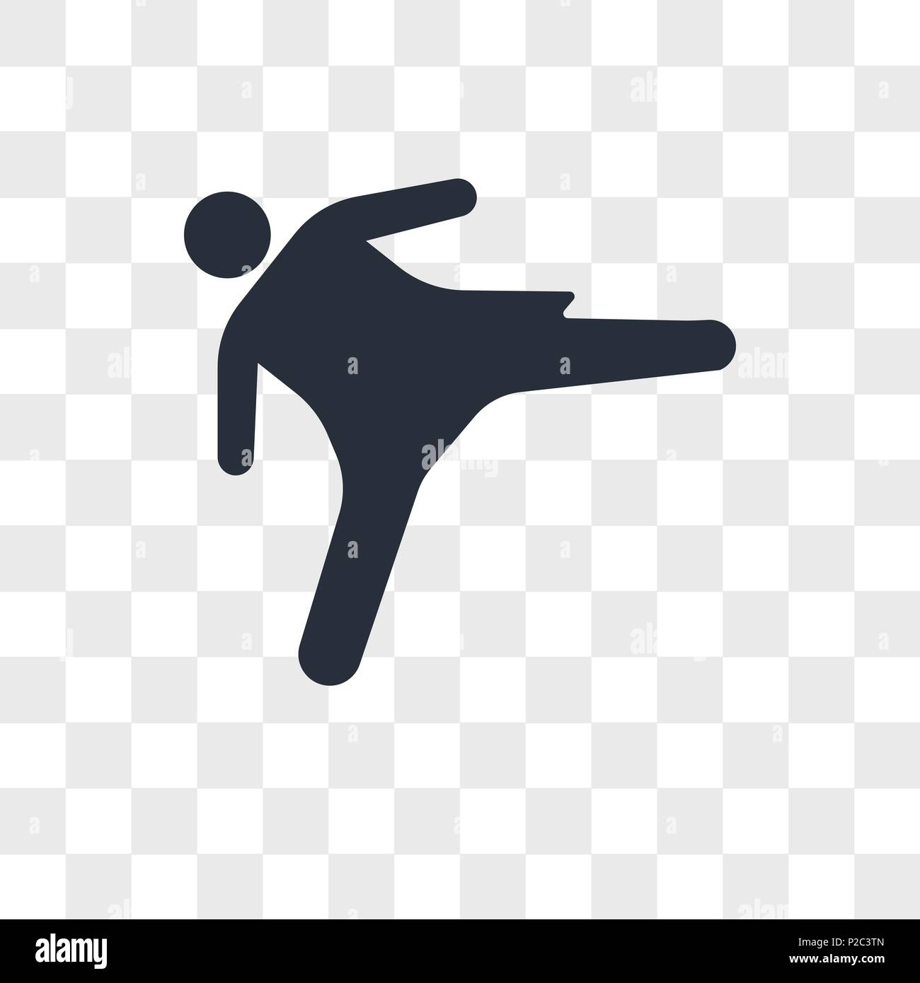 Girl kicking vector icon isolated on transparent background, Girl kicking logo concept - Stock Image