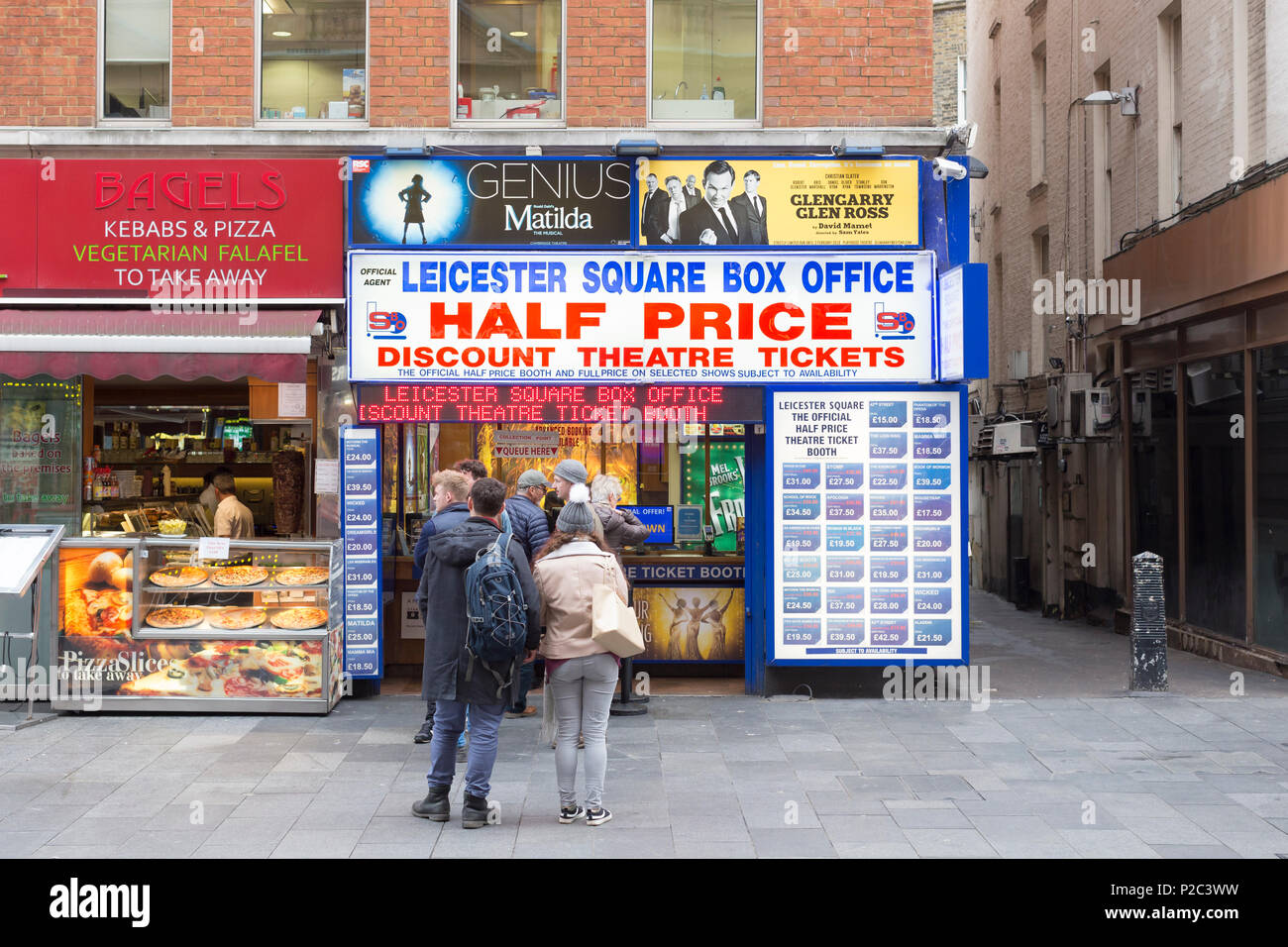 Leicester square box office, half price and discount theatre ticket booth, London, England Stock Photo