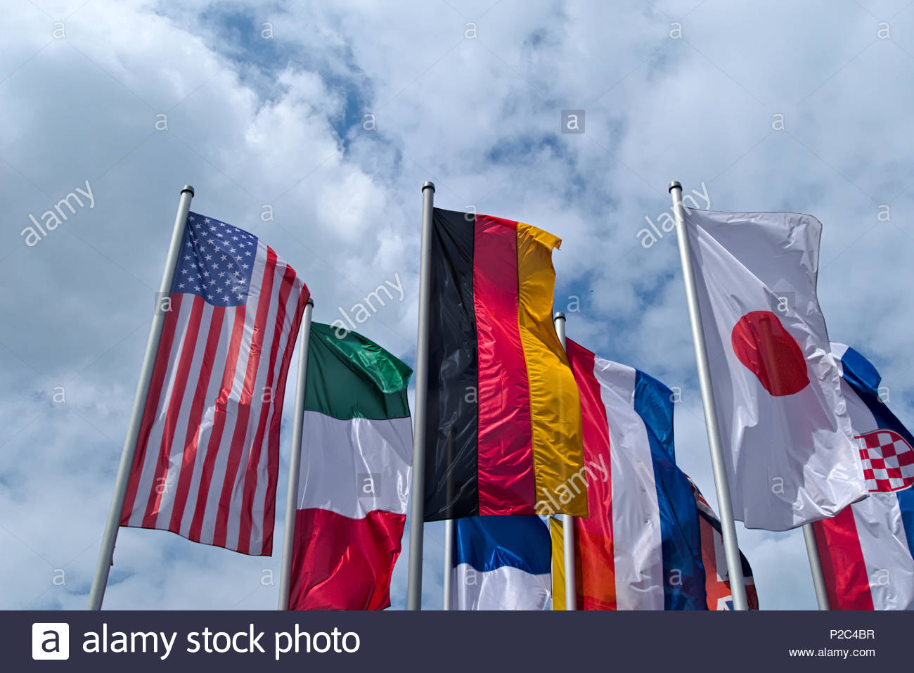 National flags: Flag of the United States, Flag of Germany, Flag of Italy, Union Jack, Flag of Japan Stock Photo