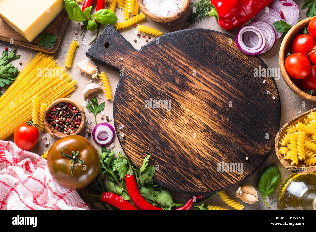 Minced meat, pasta and vegetables.  Stock Photo