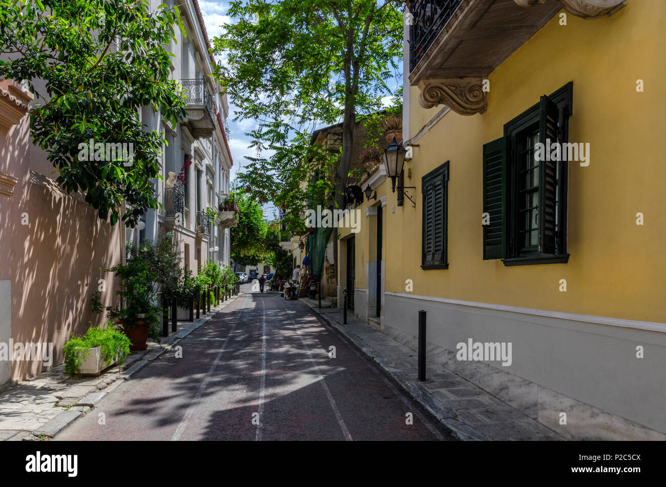 Plaka, Athens / Greece - April 20, 2018: View of a neighborhhod in Plaka, historic center of Athens city - Stock Image