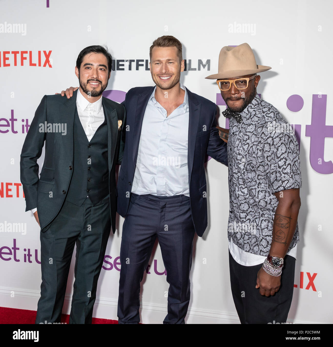 New York, NY, USA - June 12, 2018: Justin Nappi, Glen Powell and Taye Diggs attend the New York special screening of the Netflix film 'Set It Up' at A - Stock Image