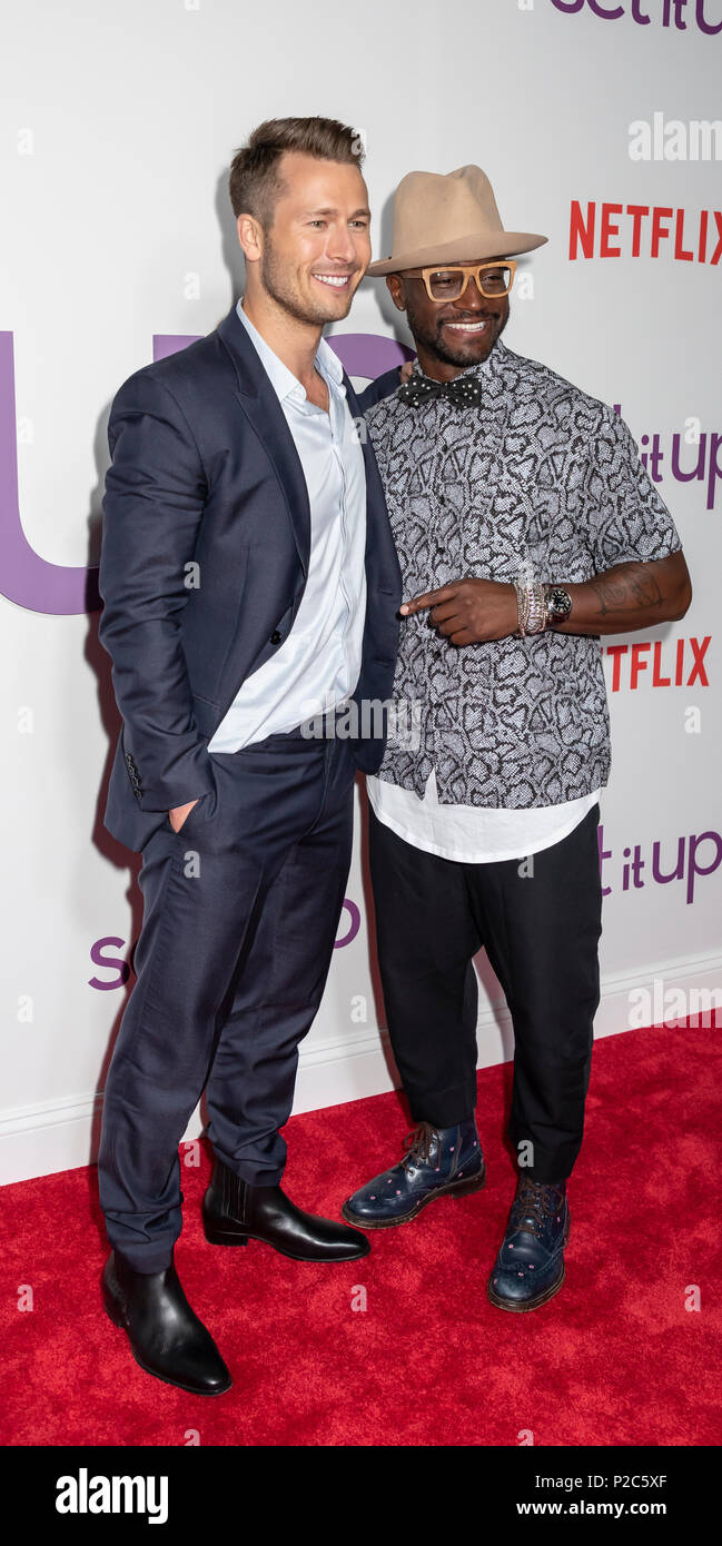 New York, NY, USA - June 12, 2018: Actors Glen Powell and Taye Diggs attend the New York special screening of the Netflix film 'Set It Up' at AMC Loew - Stock Image