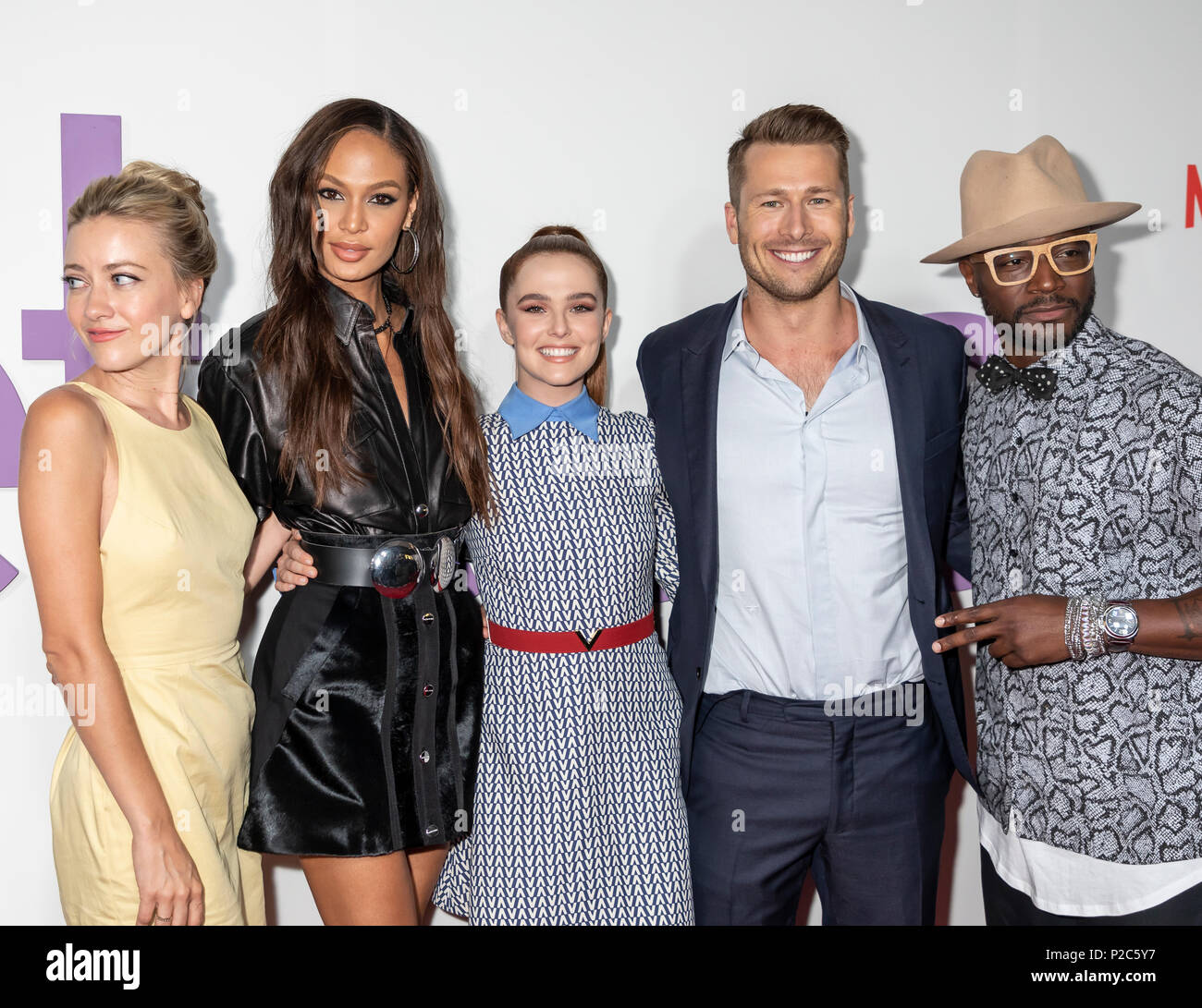 New York, NY, USA - June 12, 2018: Actors Meredith Hagner,Joan Small, Zoey Deutch, Glen Powell and Taye Diggs attend the New York special screening of - Stock Image