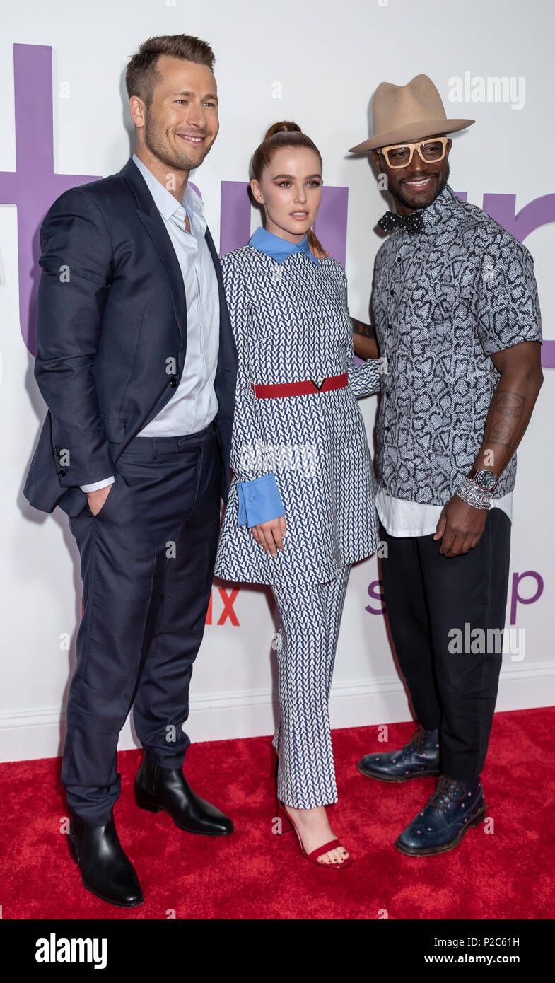 New York, NY, USA - June 12, 2018: Actors Glen Powell, Zoey Deutch and Taye Diggs attend the New York special screening of the Netflix film 'Set It Up - Stock Image