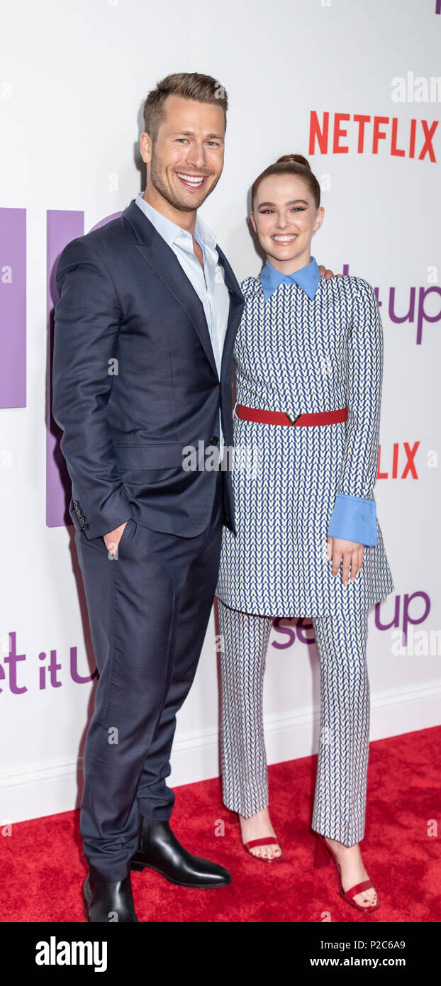 New York, NY, USA - June 12, 2018: Actor Glen Powell and actress Zoey Deutch attend the New York special screening of the Netflix film 'Set It Up' at  - Stock Image