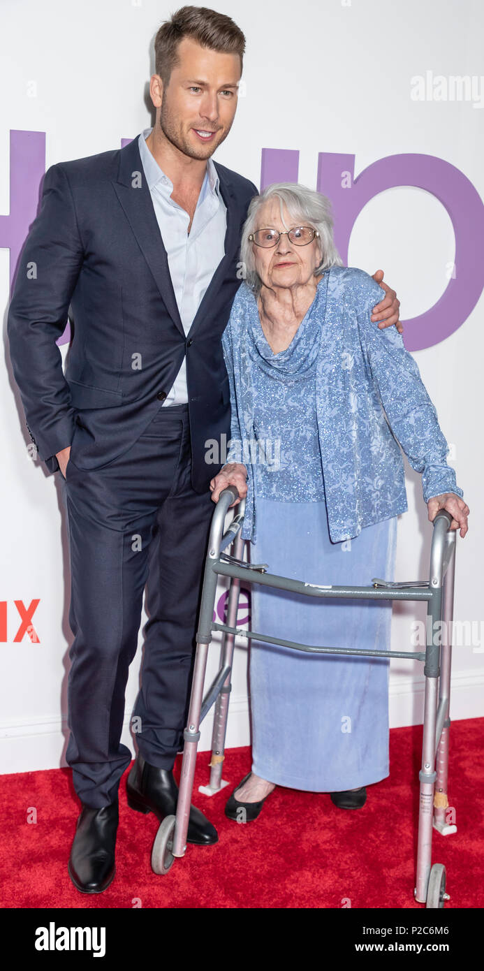 New York, NY, USA - June 12, 2018: Actor Glen Powell and  Lillian Chutsky attend the New York special screening of the Netflix film 'Set It Up' at AMC - Stock Image