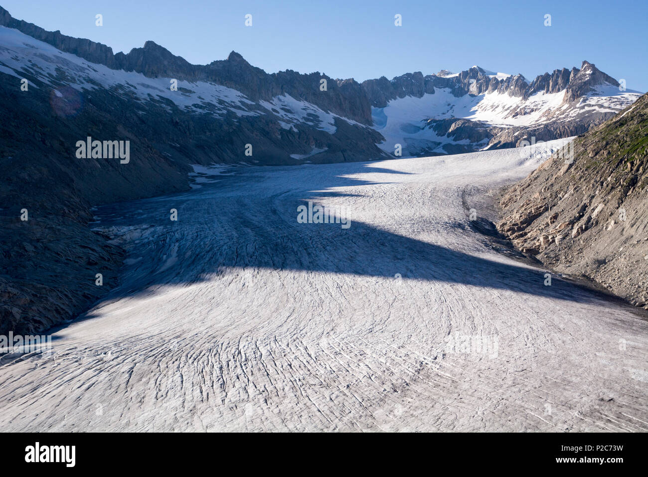 The tongue of the Rhone Glacier, source of the river Rhone, Uri Alps, canton of Valais, Switzerland Stock Photo