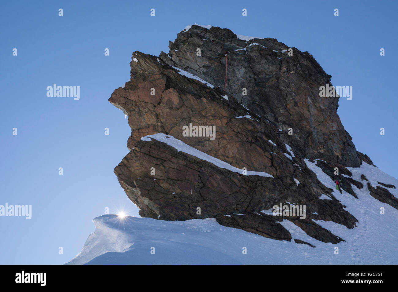 Alpinists abseiling from the summit of the western Breithornzwilling, Breithorn Massif, Valais Alps, canton of Valais and region Stock Photo