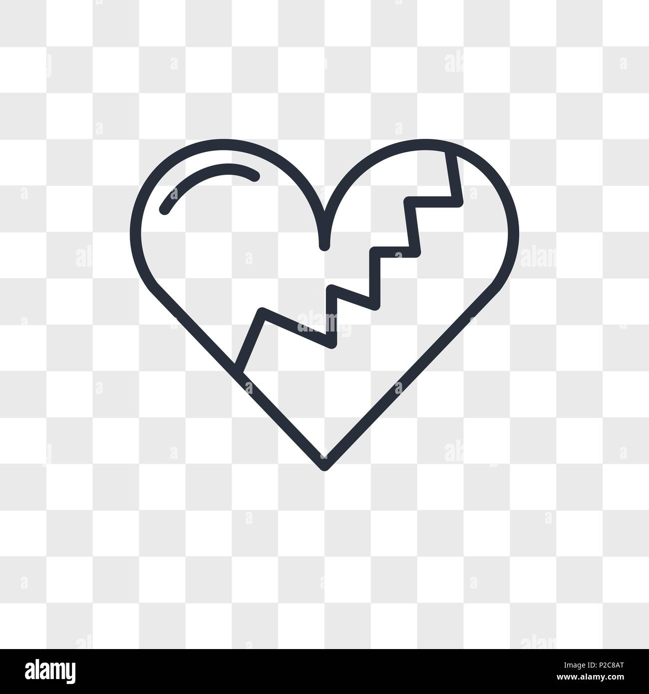 Broken Heart Vector Icon Isolated On Transparent Background Broken