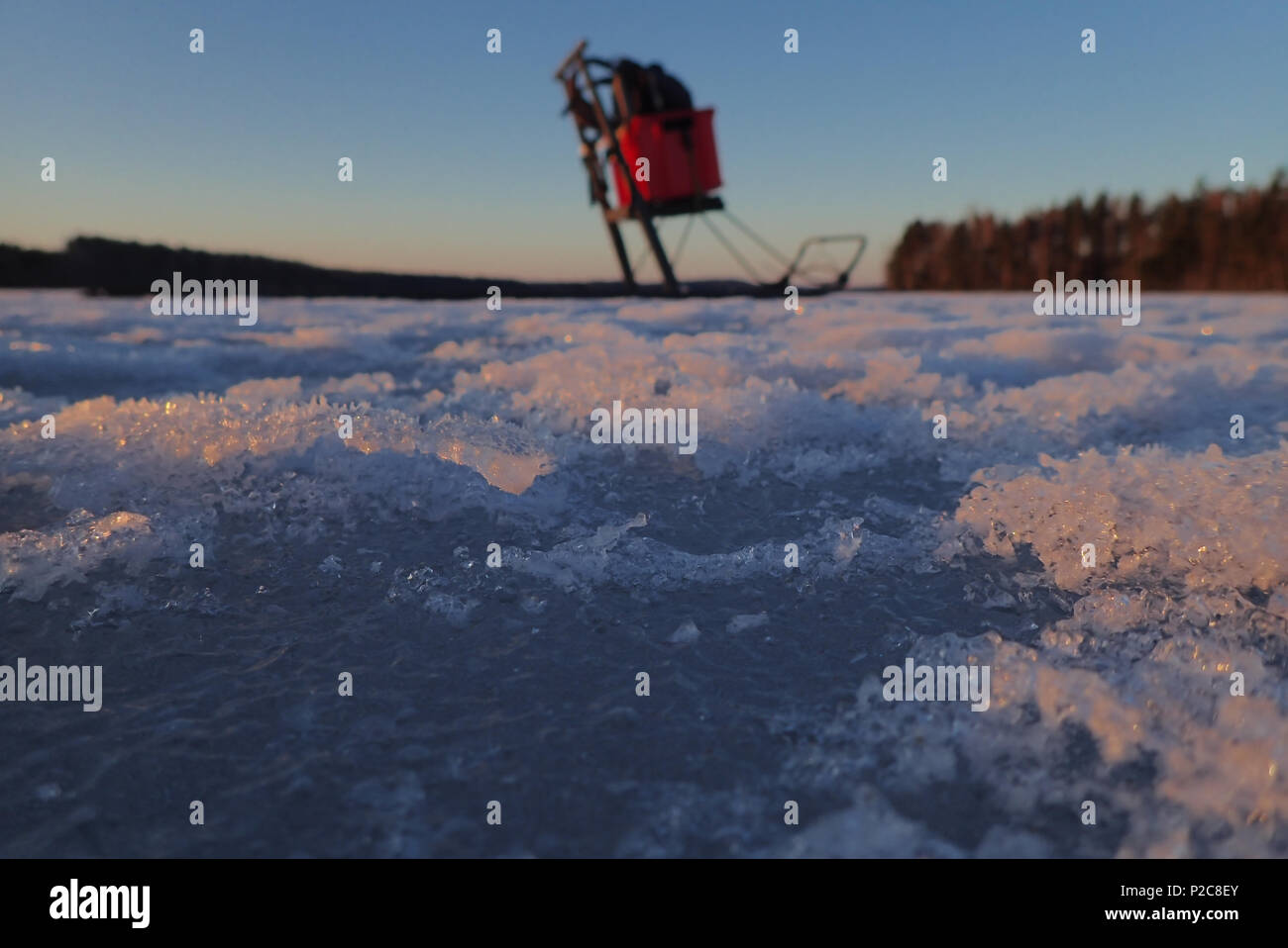 Kicksled: Sport utility vechicle for nature photographer. Lake Kukkia, Finland. 11.4.2018. - Stock Image