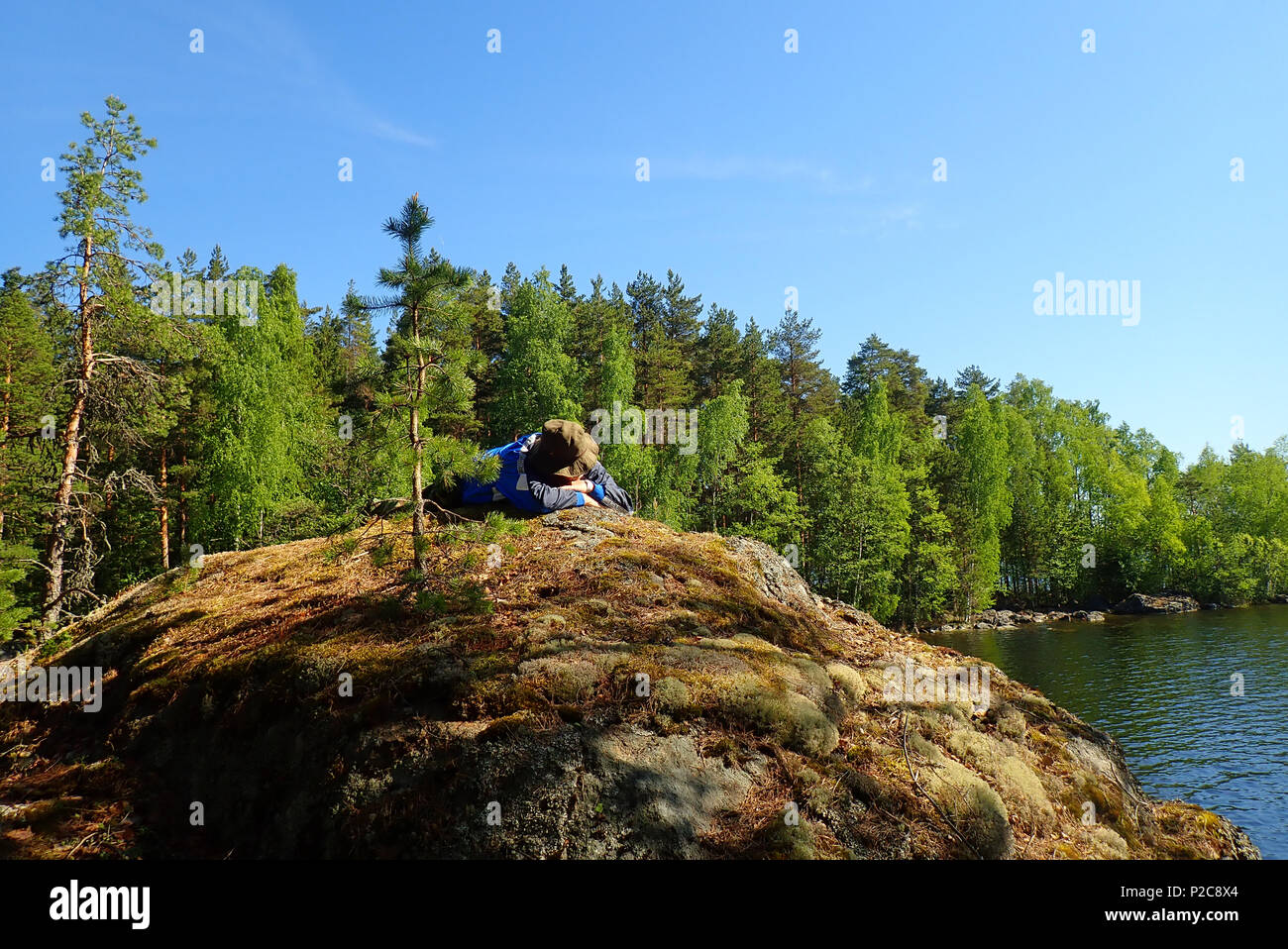 Relaxing in nature. Lake Kukkia, Luopioinen, Finland. 25.5.2018 - Stock Image