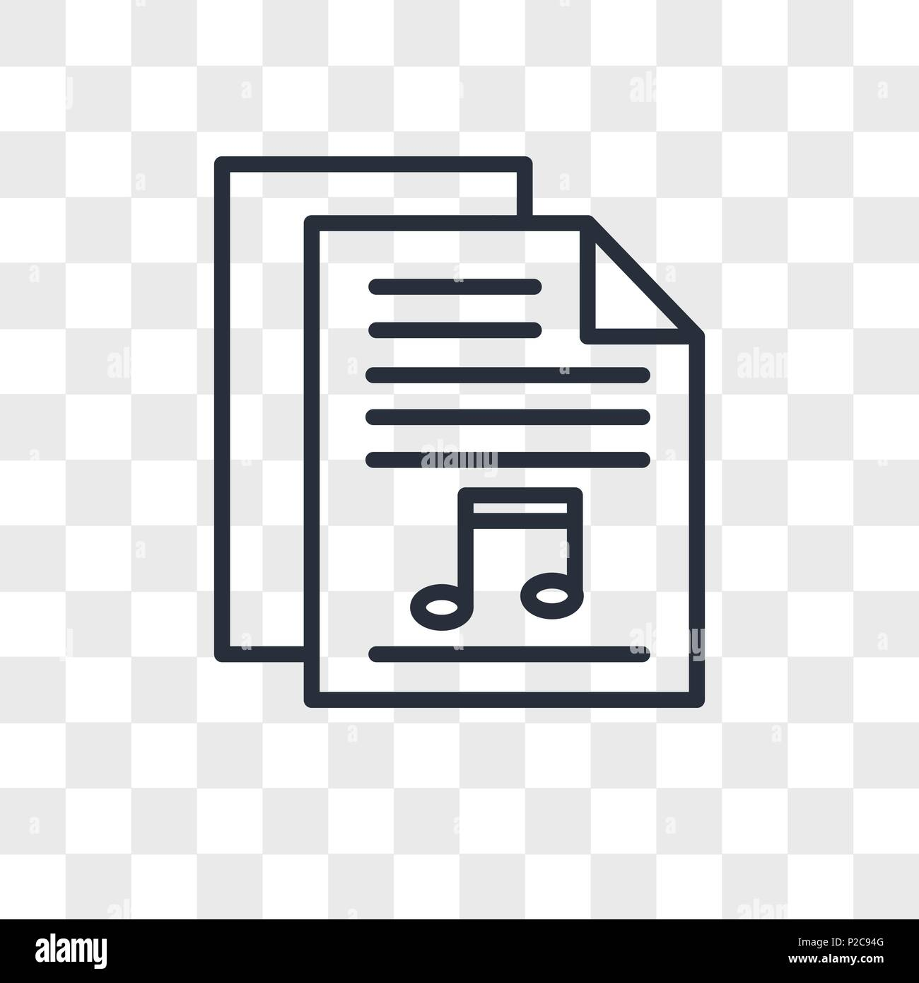 Sheet music vector icon isolated on transparent background