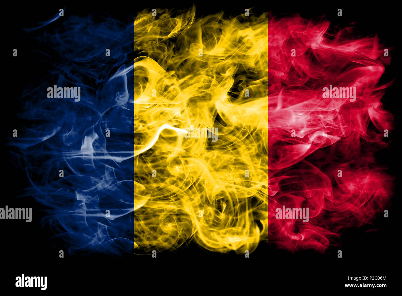 Chad smoke flag - Stock Image