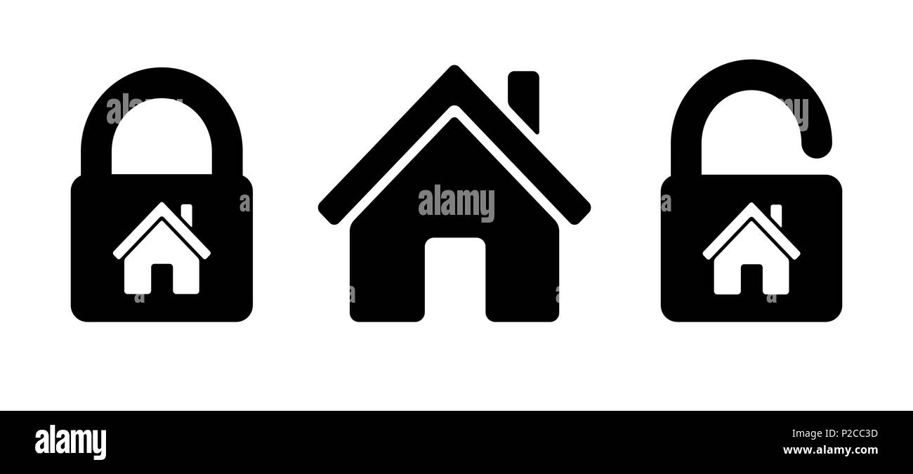 Lock house icon Residential house, home with lock - Stock Image