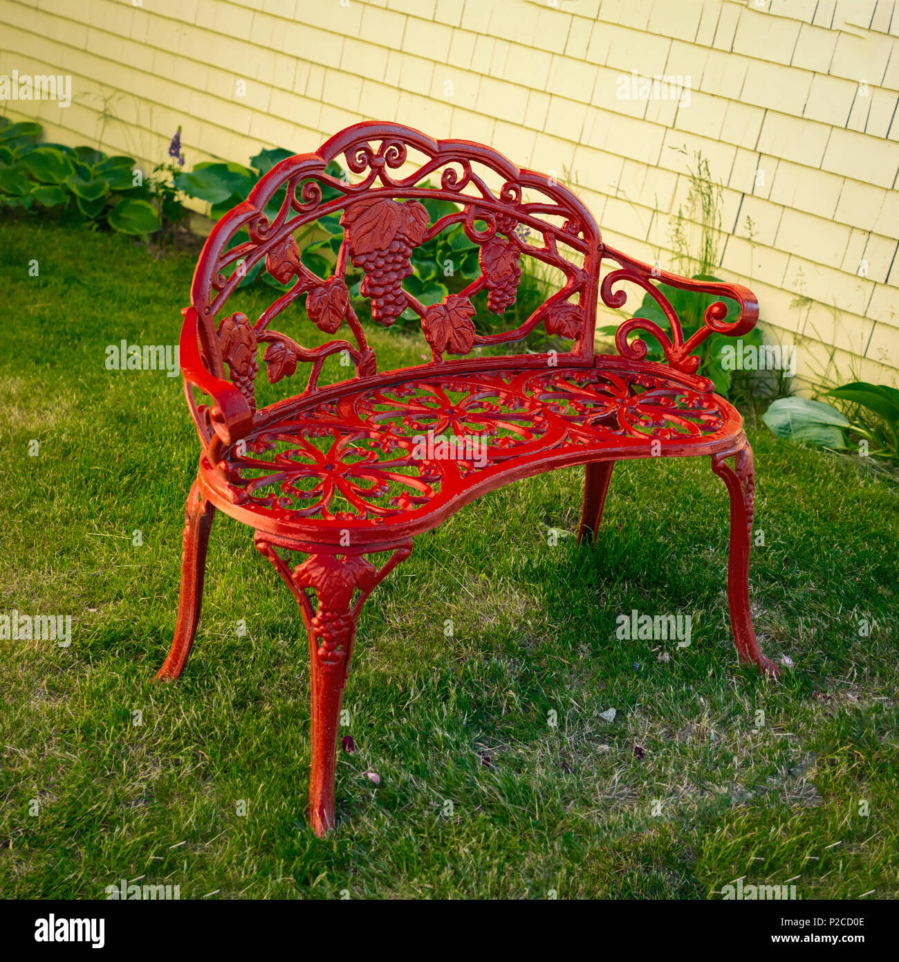 Cool Ornate Red Wrought Iron Garden Bench Stock Photo 208027358 Evergreenethics Interior Chair Design Evergreenethicsorg