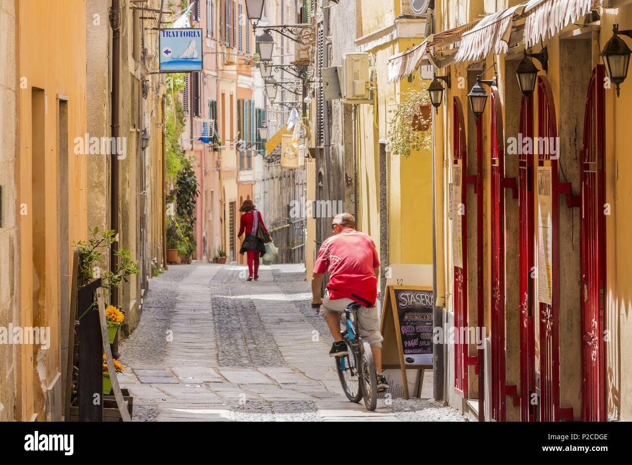 Italy, Sardinia, Western Sardinia, Alghero, sreet via Arborea Stock Photo